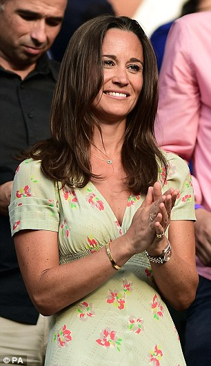 Pippa enjoyed the match from the stands at Centre Court earlier this week