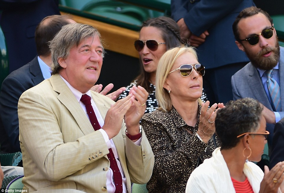 Spot the celeb: Stephen Fry was side by side with tennis legend Martina Navratilova and in front of the Middletons