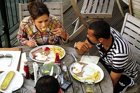 Cheryl and Ashley tuck into loaded plates of chips, gammon and eggs at a pub in Surrey at the weekend