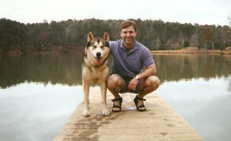 Mark Rowlands with his wolf Brenin at Lake Nicol.
