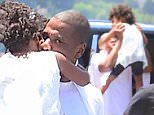Jay Z was spotted out in NYC with his daughter Blue Ivy. He lifted her in the air with a huge smile on his face, before they boarded a helicopter to the Hamptons. Blue laughed happily as her dad picked her up and carried her barefoot into the heli.\n\nPictured: Jay-Z and Blue Ivy Carter\nRef: SPL1073531  100715  \nPicture by: 247PAPS.TV / Splash News\n\nSplash News and Pictures\nLos Angeles: 310-821-2666\nNew York: 212-619-2666\nLondon: 870-934-2666\nphotodesk@splashnews.com\n