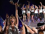 EAST RUTHERFORD, NJ - JULY 10:  Singer/songwriter Taylor Swift performs onstage with model Heidi Klum and the U.S. Women's World Cup champions during The 1989 World Tour Live at MetLife Stadium on July 10, 2015 in East Rutherford, New Jersey.  (Photo by Larry Busacca/LP5/Getty Images for TAS)