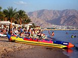 Israeli Red Sea resort of Eilat.....Beach Scene. . REXMAILPIX.