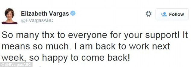 Vargas took to Twitter in October to let her fans know that she was returning to the anchor's chair on 20/20