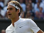 Wimbledon 2015 tennis championships, Wimbledon, London Picture Andy Hooper Daily Mail/ Solo Syndication Day 11 Roger Federer v Andy Murray Pic Shows  Roger Federer takes the first set