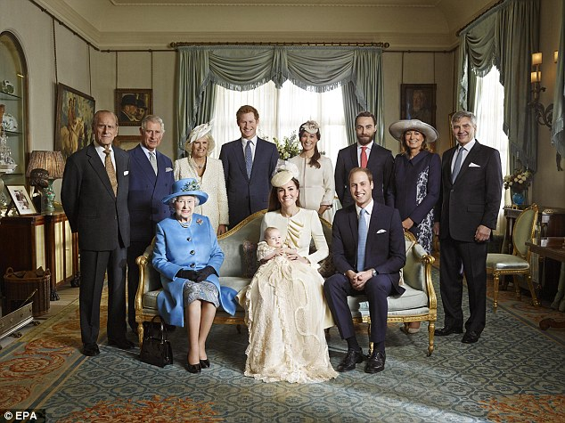 The official portrait for the christening of Prince George Alexander Louis of Cambridge, photographed in The Morning Room at Clarence House in 2013