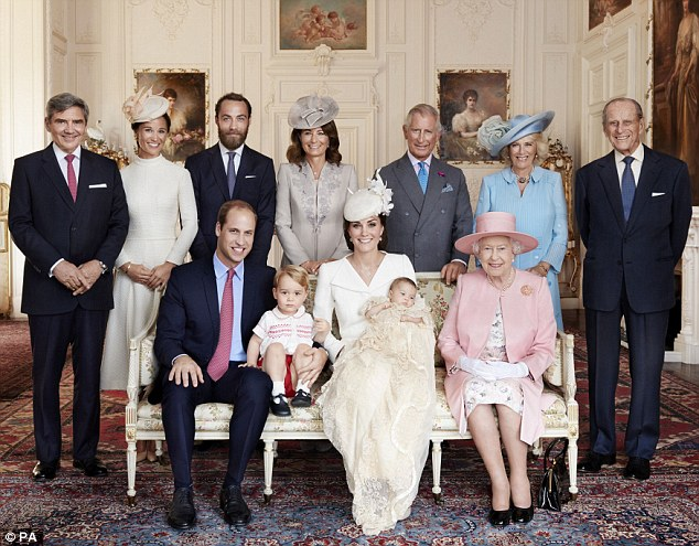 The first official family picture of baby Charlotte's christening. Back row (L-R) Michael Middleton, Pippa Middleton, James Middleton, Carole Middleton, Prince Charles, the Duchess of Cornwall, the Duke of Edinburgh. Front row (L-R) Prince William, Prince George, the Duchess of Cambridge with Princess Charlotte and the Queen