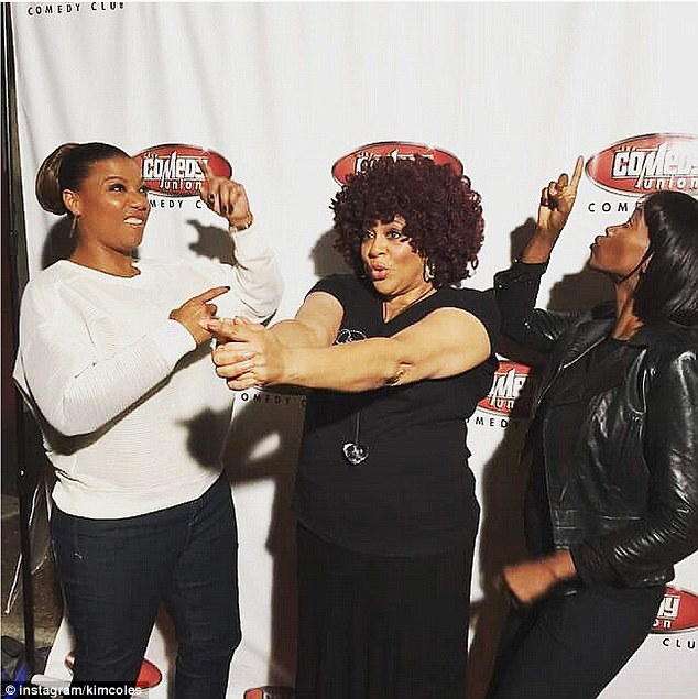 Reunited and it feels so good: Cole's former Living Single cast mates Queen Latifah and best friend Erika Alexander posed for a hilarious Charlie's Angels flick on the red carpet at her June 4 bachelorette party