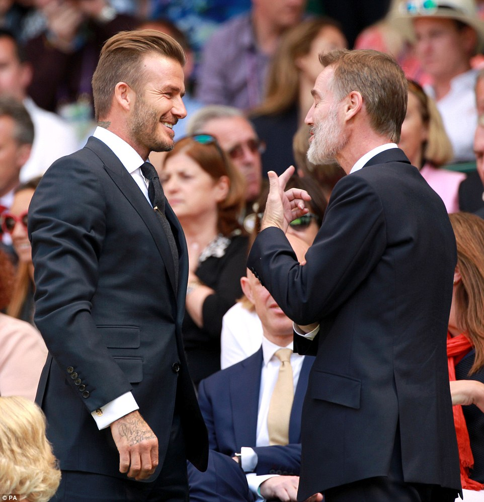 Conversation: Beckham and Adam Crozier, chief executive of ITV, in the Royal Box during day ten of the Wimbledon Championships