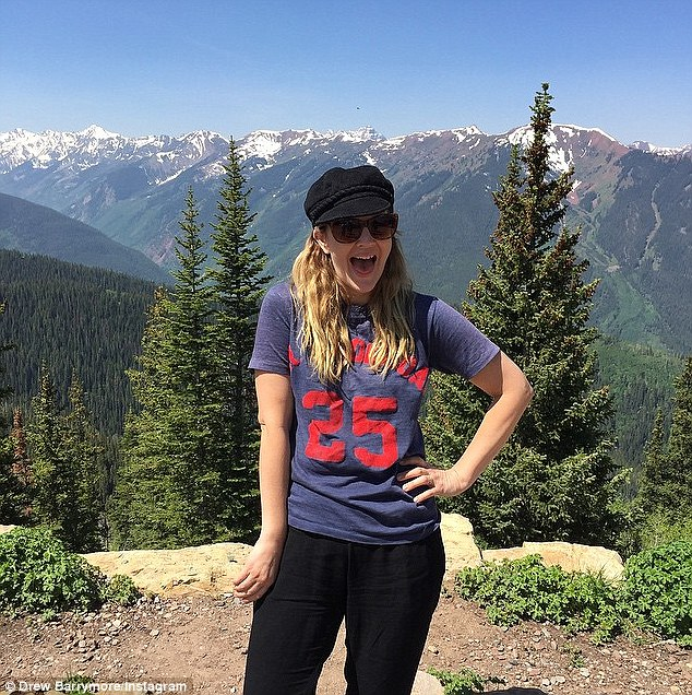 Breath of fresh air: Barrymore sported a casual look while in Colorado for the Aspen Food and Wine Festival in June
