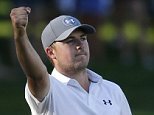 Jordan Spieth celebrates his birdie on the 18th green during the third round of the John Deere Classic golf tournament Saturday, July 11, 2015, in Silvis, Ill. (AP Photo/Charles Rex Arbogast)