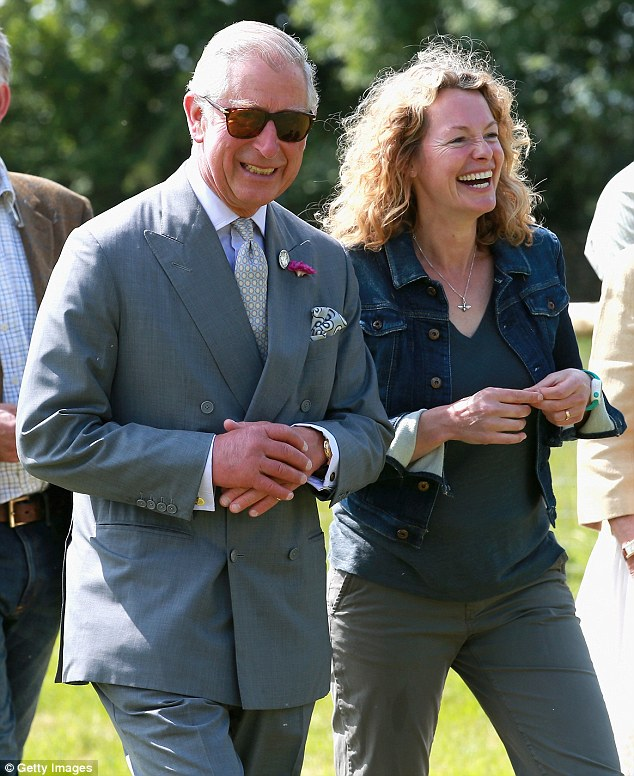 Prince Charles and Kate Humble appeared in high-spirits as they toured the Welsh farm