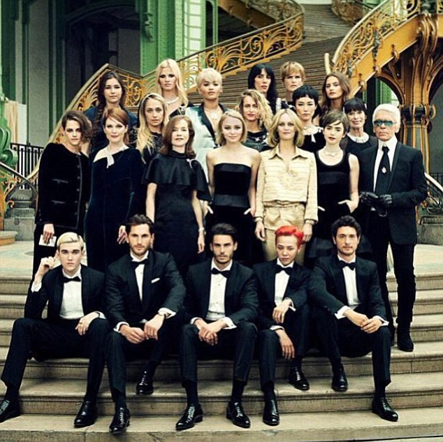 Chanel crew: The stars who took part - incuding Lily-Rose, Vanessa, Julianne Moore, Kristen Stewart. Lily Collins and Rita Ora - posed for a group shot after the casino-themed event