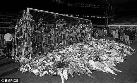 Tributes laid at Anfield, in memory of those who died at the Hillsborough disaster