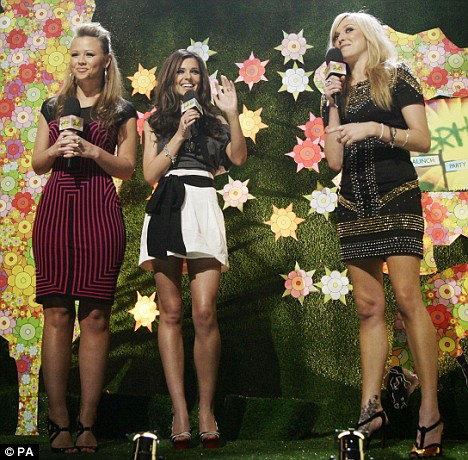 Showing their legs: A skinny Kimberley Walsh and Cheryl Cole join Brits Awards presenter Fearne Cotton to announce the shortlist