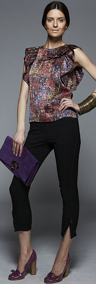 Print ruffle top, £265, and black riding trousers, £220, both Phillip Lim