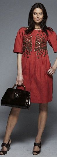 Coral coat, £1,714, brown shoes, £385, brown patent bag, £763, all Alberta Ferretti