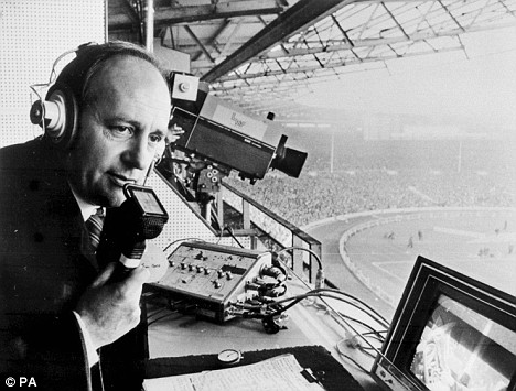 1974 of Brian Moore in the commentary box at Wembley Stadium