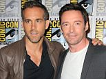 SAN DIEGO, CA - JULY 11:  Actors Ryan Reynolds (L) and Hugh Jackman attend the 20th Century FOX panel during Comic-Con International 2015 at the San Diego Convention Center on July 11, 2015 in San Diego, California.  (Photo by Albert L. Ortega/Getty Images)