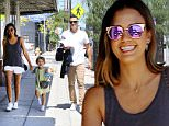 Please contact X17 before any use of these exclusive photos - x17@x17agency.com   Jessica Alba and husband Cash Warren take their youngest daughter, Haven Garner, out for some strolling in West Hollywood. The cute redhead seems to be the leader of the group. July 11, 2015 X17online.com