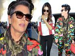 Kendall Jenner and her mom, Kris, got dressed up for their flight to London.  Kendal went with a red and white top and tights, while Kris went with a funky camouflage pattern, on, Saturday, July 11, 2015 X17online.com
