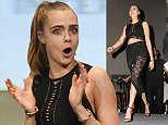 Cast members from Suicide Squad take the stage for the Warner Bros. panel at Comic Con in San Diego, CA\n\nPictured: Cara Delevingne\nRef: SPL1076903  110715  \nPicture by: London Entertainment/Splash News\n\nSplash News and Pictures\nLos Angeles: 310-821-2666\nNew York: 212-619-2666\nLondon: 870-934-2666\nphotodesk@splashnews.com\n