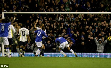 Everton's Tim Cahill (right) scores the equaliser