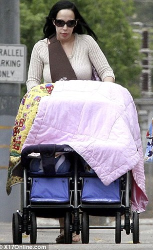 Cover up: Miss Suleman takes drapes blankets over her babies as she takes them for a walk earlier this year