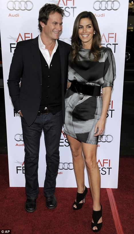 """Cindy Crawford and her husband Rande Gerber arrive at the premiere of the film """"A Single Man"""""""