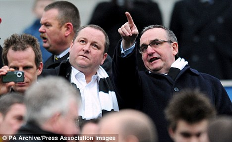 Newcastle United owner Mike Ashley in the stands with Chairman Derek Llambias