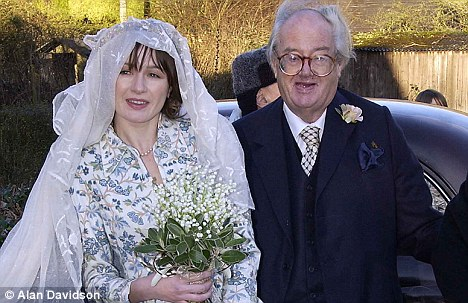 Happy day: John gave Emily away at her wedding in 2002
