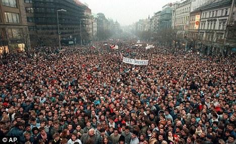 Around 200,000 people gather in Prague's Wenceslas Square during the Velvet Revolution