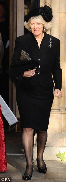 The Duchess of Cornwall leaves the memorial service for Sir John Mortimer at Southwark Cathedral in London