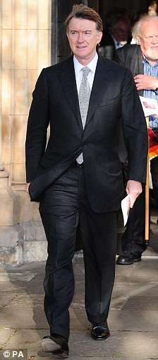 Peter Mandelson and Joss Ackland leave the memorial service for Sir John Mortimer at Southwark Cathedral