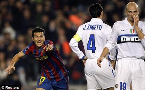 Smiling assassin: Pedro triggers more Nou Camp celebrations by scoring Barca's second goa