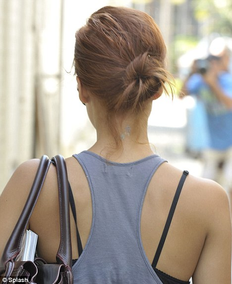 Jessica Alba faded neck tattoo Beverly Hills