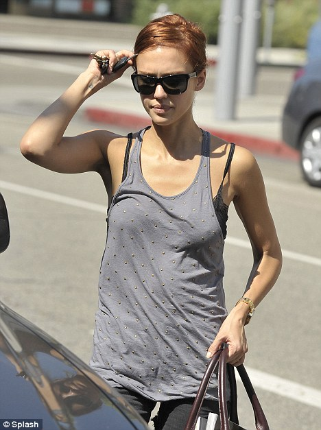 Jessica Alba in Beverly Hills with red hair