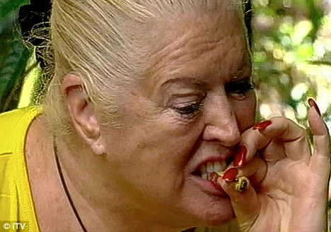 Fearless: Kim is unfazed by the witchety grubs on I'm A Celebrity