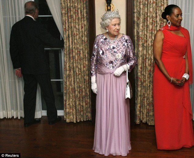 Prince Philip and the Queen at a banquet in Bermuda