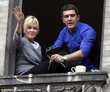 Antonio Banderas is spotted with his wife Melanie Griffith, daughter