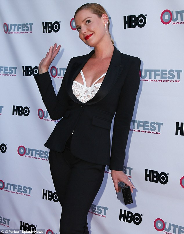 Leading lady: Katherine heads up the Indiegogo -funded romance, and looked to be in high-spirits as she posed on the red carpet at the event