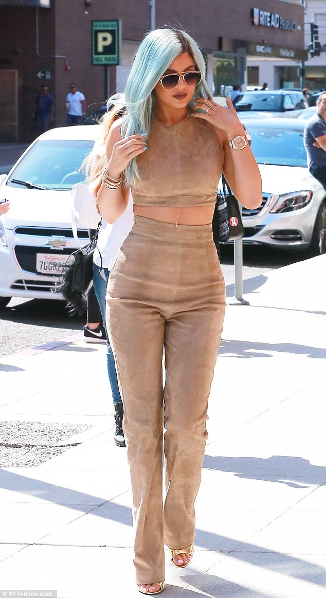 On trend: She sampled one of the season's hottest trends in top to toe suede