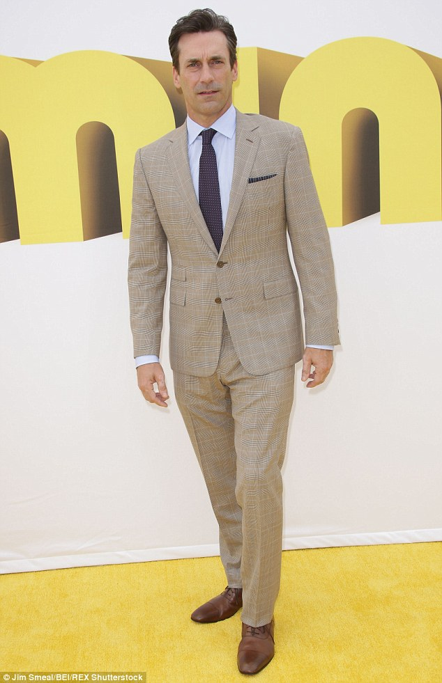 Flying solo: The dishy actor - who is the voice of Herb Overkill in the hotly-anticipated Minions movie -may have needed some time to collect his thoughts after it was reported that he has recently split from his longtime girlfriend Jennifer Westfeldt