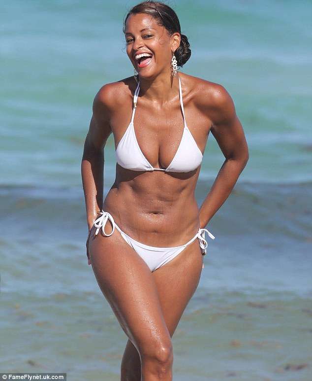 Beaming:The 42-year-old television personality was all smiles during the outing