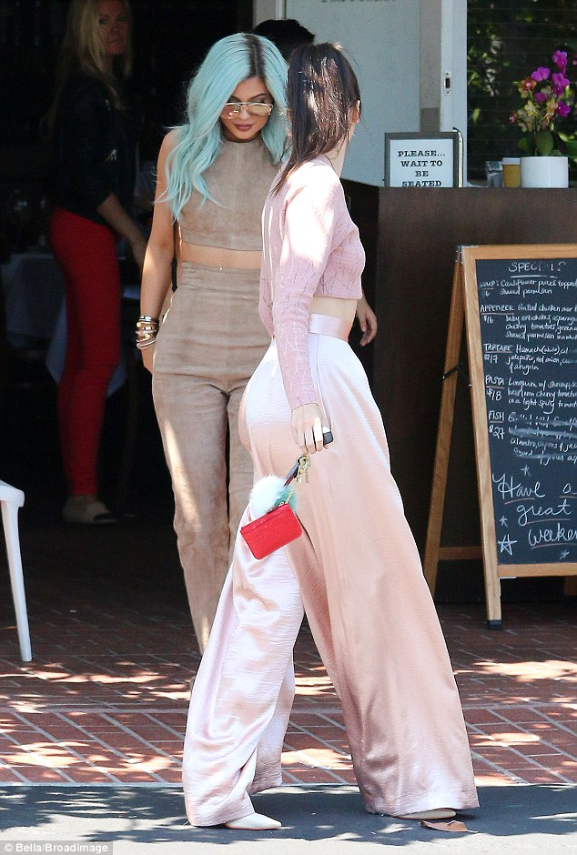 Just the two of us: Kylie and Kendall were adorable in matching top and bottom sets