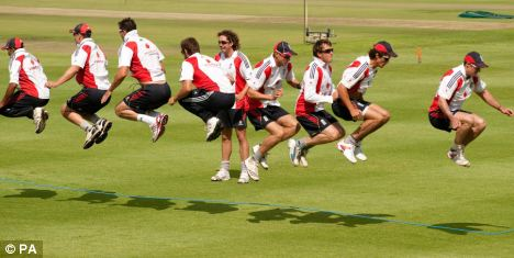 England players skip during a nets session at Newlands