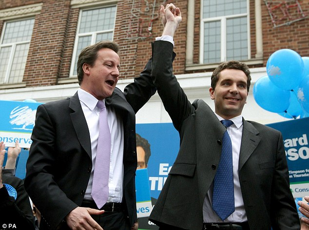 The Timpson's son Edward, pictured with the PM David Cameron, is the MP for Crewe and Nantwich