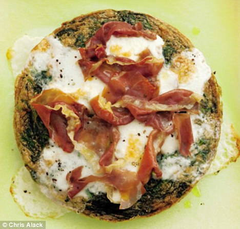 Fresh green frittata with spinach, ham and cheese