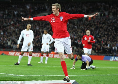 Peter Crouch of England celebrates