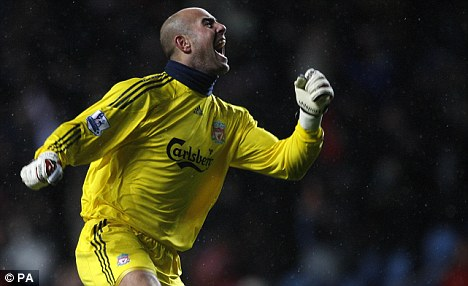 Jumping for joy: Liverpool goalkeeper Pepe Reina is likely to be Spain's No 2 behind Iker Casillas